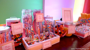 This candy bar was just the beginning - there was also cake, a cupcake tower, a chocolate fountain, and personalized m&m's!